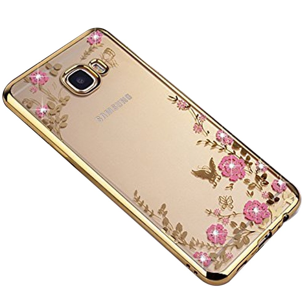 Galaxy A5 2017 Casegalaxy A52017 Cover Gostyle Electroplate Metal Bumper Case With Brushed Samsung A520 Plating Rose Gold Frame Butterfly Pink Flower Pattern Glitter Clear Soft Silicone Tpu Back