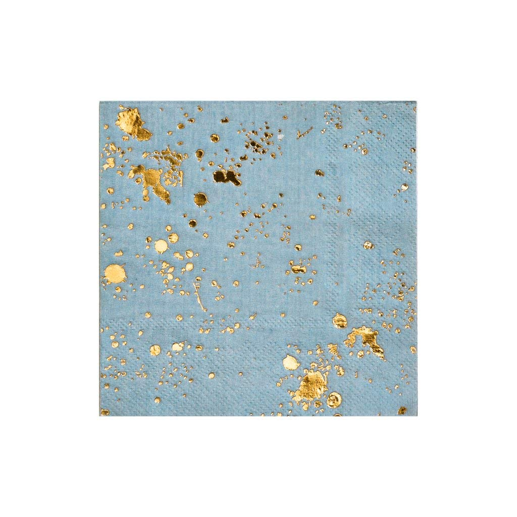 Blue w Gold Splash Cocktail Paper Napkins (60 Count) - Birthday, Wedding, Showers Party Napkins - Harlow & Grey Malibu