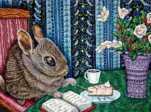 Bunny at the Cafe with cheesecake signed rabbit art print Traditional Cheesecake