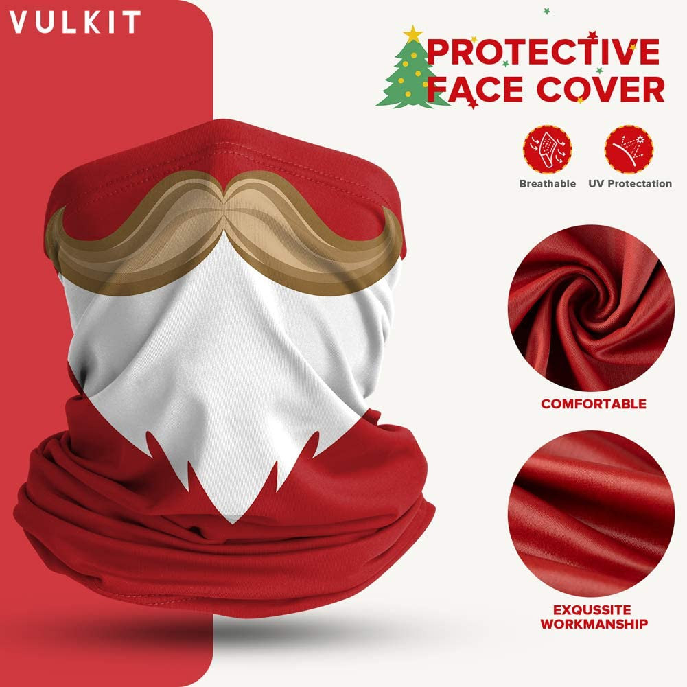 VULKIT 2 Pack Kids Neck Gaiter Balaclava Christmas Printing Breathable Face Cover Protection Bandana for Outdoor