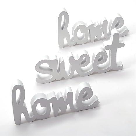 3tlg Deko Schriftzug Home Sweet Home Holz Weiss Wandtattoo