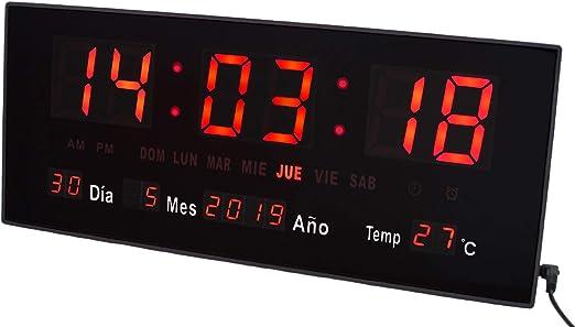 JEVX Reloj Digital de Pared y Sobremesa 2 en 1 - Mediano para ...