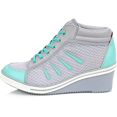 Brand New Lace Up Casual Shoes For Women Heels Fashion Wedge Sneakers - Comfortable Sports height Increase High-Top Ankle Boots