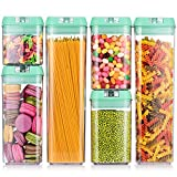 """Senbowe [6-Piece] Air-Tight Food Storage Container Set with Durable Plastic, BPA Free,Clear Containers for Pantry Kitchen Organization and Storage- Upgrade Mint Green Lids (3.8""""×3.8"""")"""