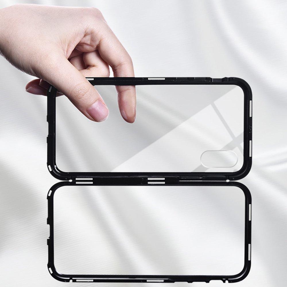 Custodia iPhone X, Custodia Ultra-sottile leggera, Custodia a conchiglia magnetica, Cornice in metallo, Parte posteriore in vetro temperato trasparente (Senza fronte) per iPhone X