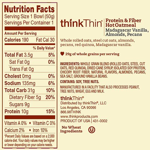 thinkThin Protein & Fiber Hot Oatmeal, Madagascar Vanilla with Almonds and Pecans, 1.76 oz Bowl (Pack Of 6) by thinkThin (Image #2)