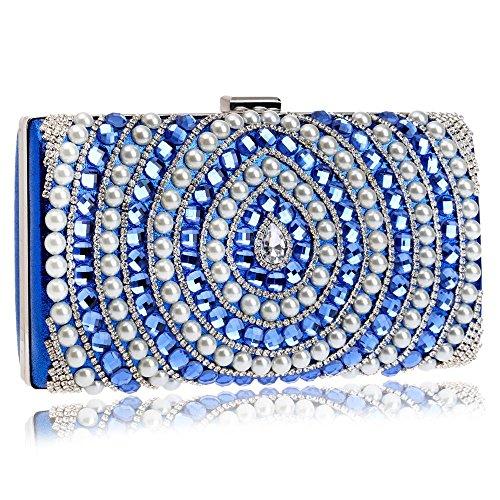 boda blue Messenger de de noche las bolsos hombro de Bolsos Candy de mujeres cuentas Tutu cadena de con bolso silver de diamantes Color BPnqp