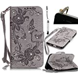 Samsung Galaxy Grand Prime G530H G5308W Wallet Case,Vandot Diamond Shiny Crystal Rhinestone Flower Butterfly Pattern PU Leather Magnetic Flip Stand Cover Shell+Detachable hand Strap+Bling Anti Dust Plug+Stylus Pen,Grey