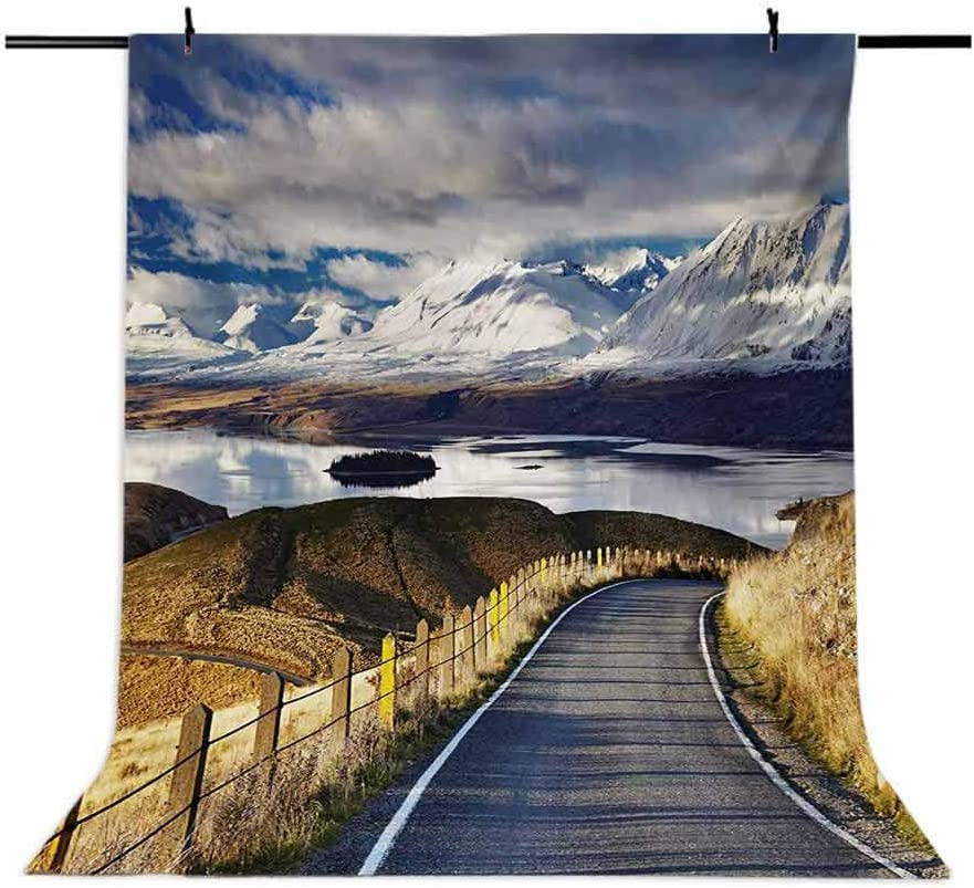Landscape 6.5x10 FT Photo Backdrops,Pike Road to The River and Snowy Mountain in Gradient Colors Sky Scenery Background for Baby Shower Bridal Wedding Studio Photography Pictures White Blue Yellow