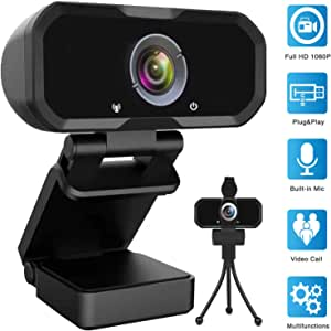 Webcam 1080p HD Computer Camera - Microphone Laptop USB PC Webcam, HD Full Gaming Computer Camera, Recording Pro Video Web Camera for Calling, Conferencing, 110-Degree Live Streaming Widescreen Webcam