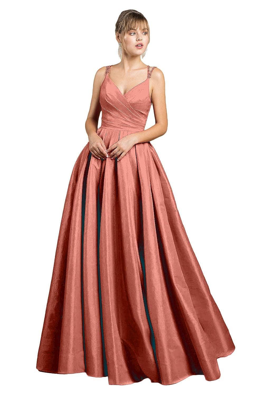 Yakey 2019 V-Neck Long Prom Dresses for Girls Pleat Beading Straps Floor Length Evening Gowns