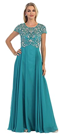 The Dress Outlet Short Sleeve Chiffon Plus Size Formal Long Gown