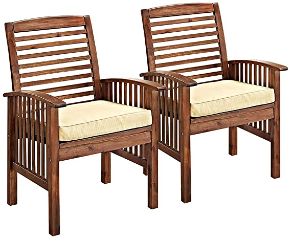 Brennan Dark Brown Patio Chairs With Cushions Set Of 2 Amazon Com