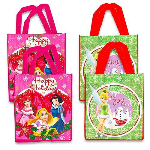 Disney Christmas Gift Bags -- Set of 4 Reusable Tote Bags Featuring Disney Princess and Disney Fairies