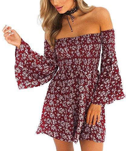 NANFANGLI Women Summer Dress Print Mini Casual Off-Shoulder Dresses (M, Red) ()