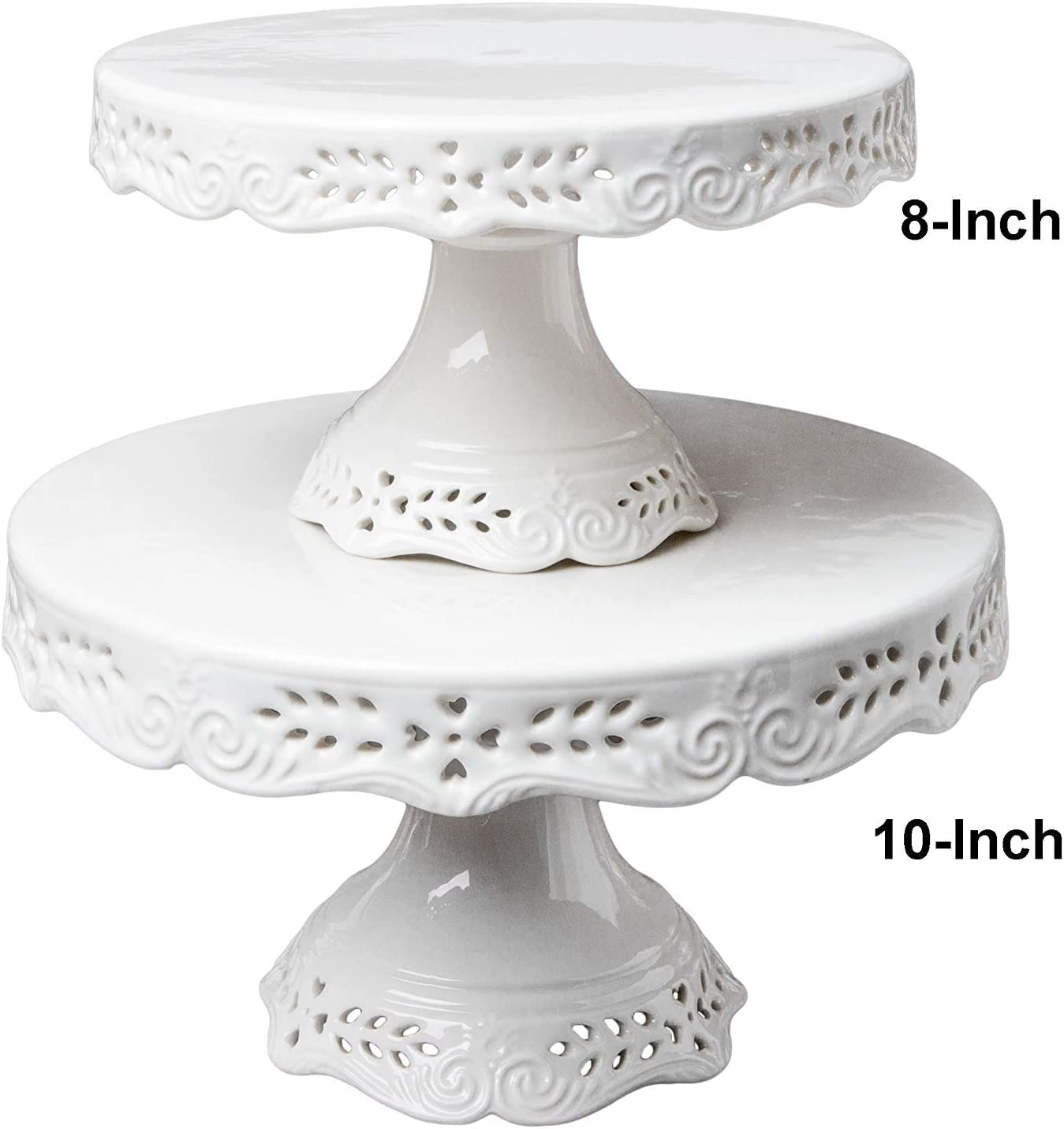 Wedding Party Decor Baby Shower Birthday Dessert Display Plates for Snacks and Cookies Floral Embossed Victorian Candy Dish BPFY 10 Inch Round White Ceramic Cake Stand Decorative Cupcake Stand