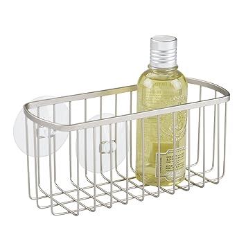 mDesign Estantería para ducha colgante – Repisa para baño fijada con  ventosas e5dc233968c2