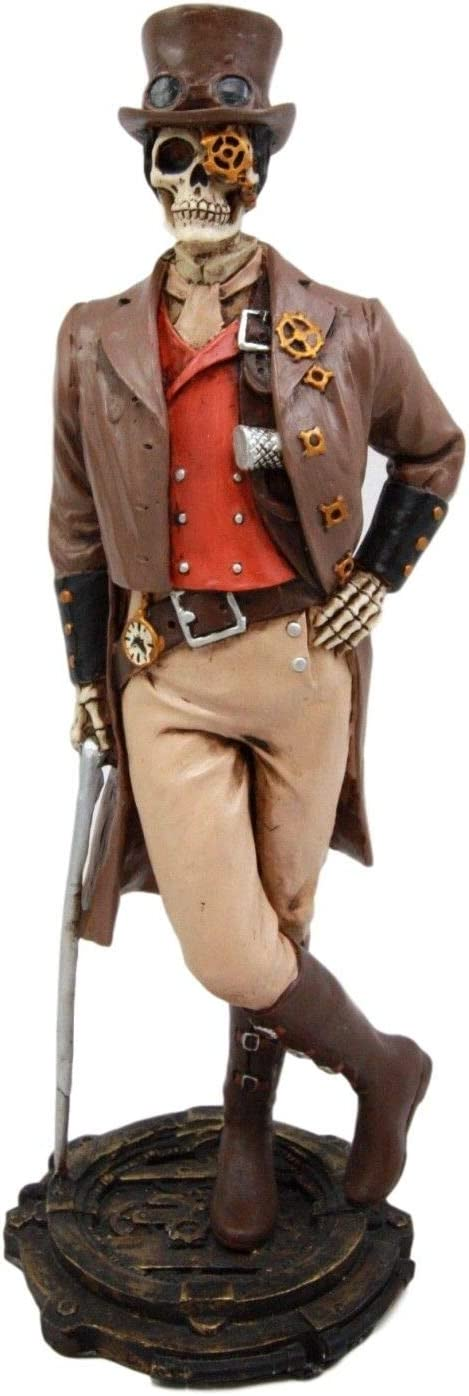 """Steampunk Decor Day of The Dead Aviator Male Officer Figurine Statue 8.75/""""H"""