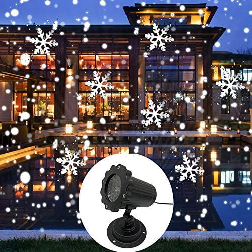 AIBAB Holiday Decoration Projection Lamp IP65 Waterproof Decorative Spotlights Moving Snowflake Lights LED Outdoor Landscape Projector Garden Wedding Party Festival Use [Wire 5m]