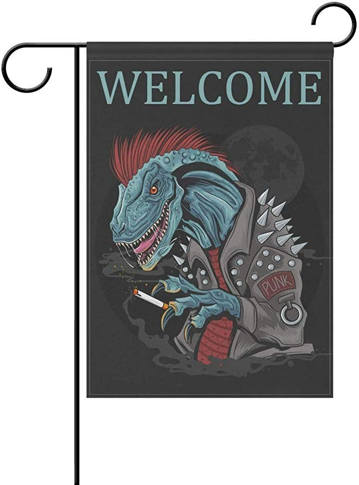 AmyNovelty Garden Flag,Dinosaur Punk Raptor Banderas Estacionales Divertidas Al Aire Libre Bandera De Jard/ín De Impresi/ón A Doble Cara 30X45Cm