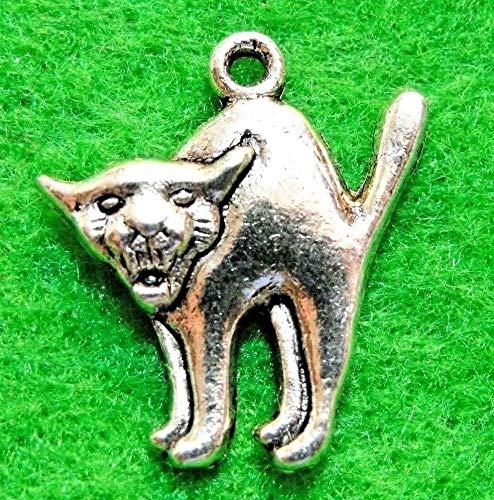 10Pcs. Tibetan Silver Scary CAT Halloween Charms Pendants Earring Drops Charms DIY Crafting by -