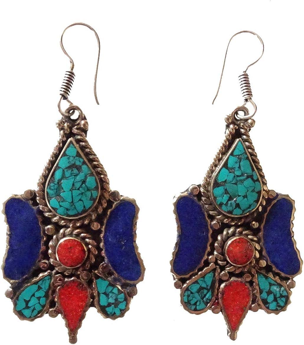 Piedras preciosas turquesa, coral rojo, azul lapis tibetano Pendiente de gota para las mujeres Hecho a mano Plateado Bohemio Vintage borlas Cuelga el pendiente Moda Boho Pendientes joyería de moda