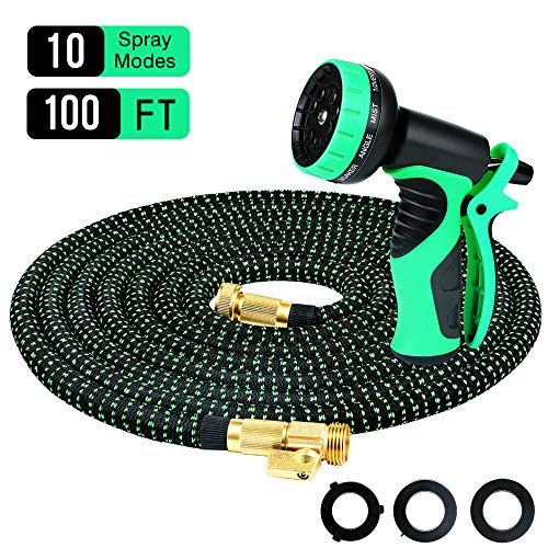 Powsure 100ft Garden Hose-Flexible and Expandable Water Hose,Double Latex Core, 3/4 Solid Brass Fittings, Extra Strength Fabric, No-Kink Expanding Hose with Metal 10 Function Spray Nozzle