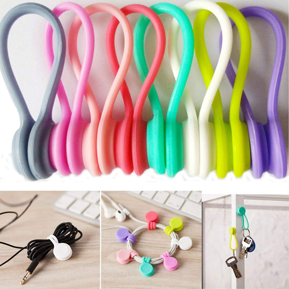 8Pcs Magnetic Cable Clips Earphone Wrap Cord Organizer Soft Silicone for Headphones/ Date USB Cable, Use as Bookmarks/ Keychain, Cable Straps/ One Step to Organize Your Disordered Cables