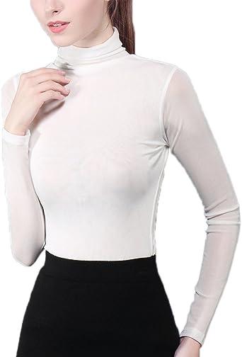 sous pull femme à manches longues T-shirt col roulé
