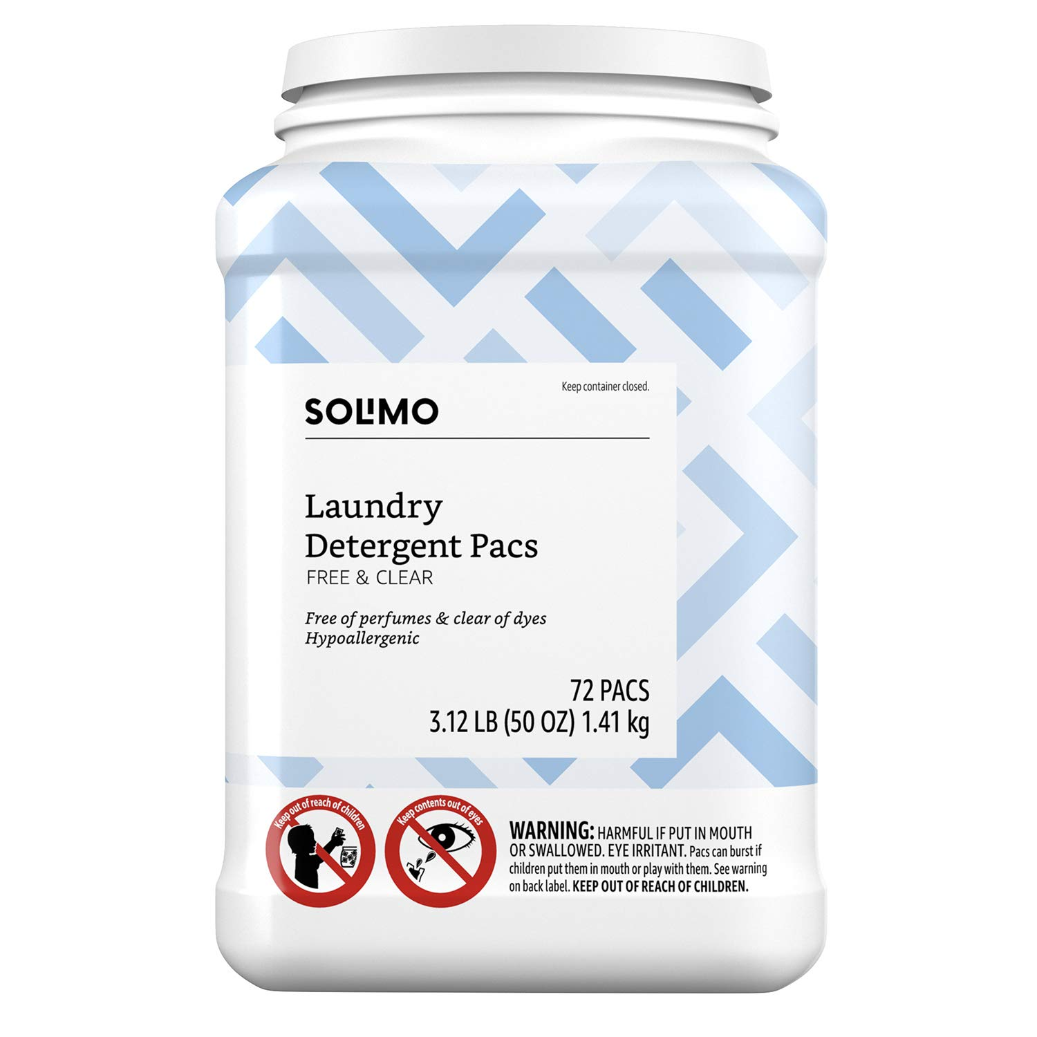 Amazon Brand - Solimo Laundry Detergent Pacs, Free & Clear, 72 count