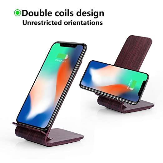 Mchoice New Wooden Design 2-coil Charging Station Wireless Charger Charging  Stand for Iphone 8/8 Plus/X