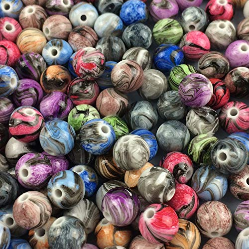 10 Mm Round Acrylic - XGuangage Multi Color Acrylic Round Loose Beads in Ink Patterns Best for Bracelets Jewelry Making (10mm)