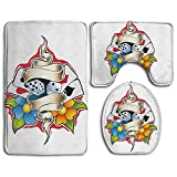 3 Piece Non-Slip Bathroom Rugs Art Poker Illustrations Set Living Room Anti-skid Pads Bath Mat + U Shaped Contour Rug + Toilet Lid Cover