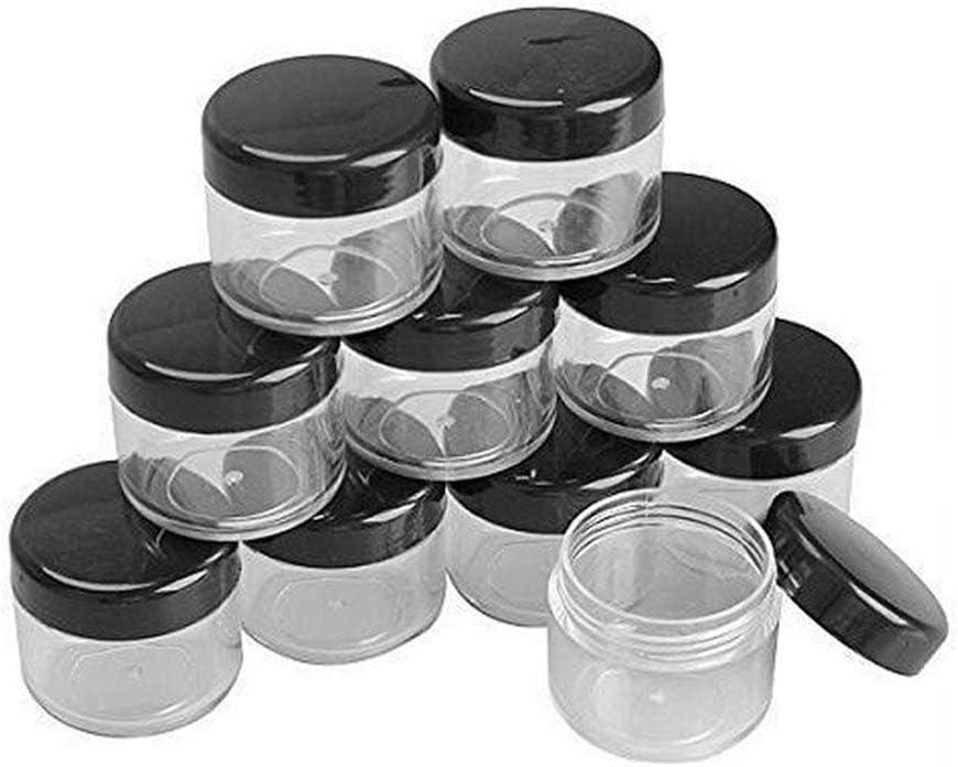 12 botes de 15 granos de pl/ástico negro con tapa de rosca de 15 ml con base transparente vac/ía de pl/ástico para botellas de polvo de u/ñas contenedor de polvo de lote sombra de ojos