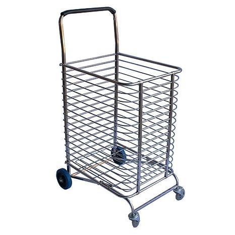 Carrito de compras extra grande de acero inoxidable Carrito de la compra Supermercado Carrito de la