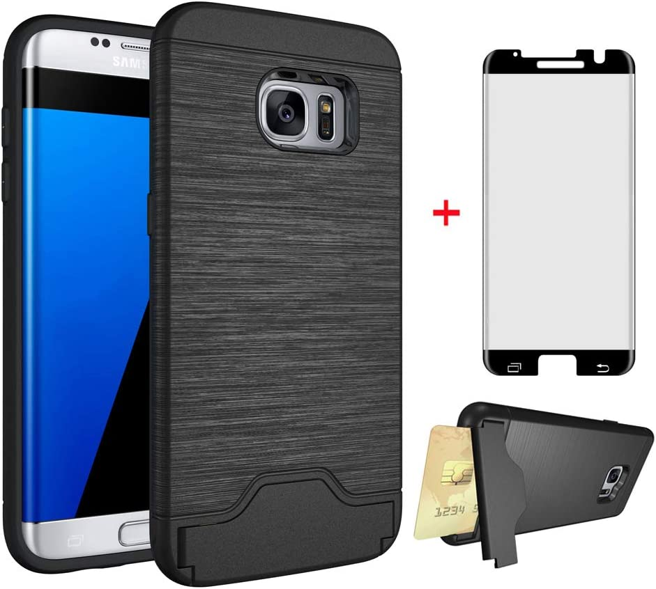 Phone Case for Samsung Galaxy S7 Edge with Tempered Glass Screen Protector Cover and Credit Card Holder Cell Accessories Stand Slim Hard Wallet Glaxay S7edge S 7 Plus 7s 7edge Cases Women Men Black