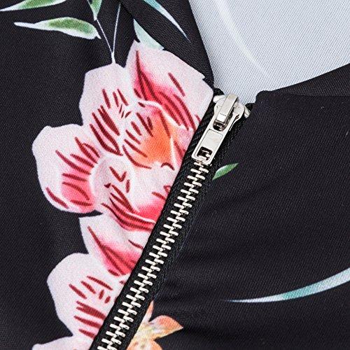 2xl Esterni M Floreali Indumenti Blu Rosa Sottile Camicette Autunno Abbigliamento Fiori Casual Hibote Stampa Nero Donna Moda Giacche Cappotti aqBFTF