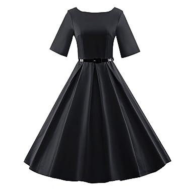 b6dc62f4fc047 BFY Women's Summer Vintage Audrey Hepburn 50s 60s Half Sleeve Solid ...