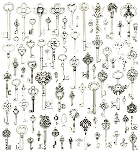 (Silver Skeleton Keys Charms, JIALEEY 80PCS Wholesale Bulk Lots Mixed Antique Castle Dungeon Pirate victorian Filigree Heart Royal)
