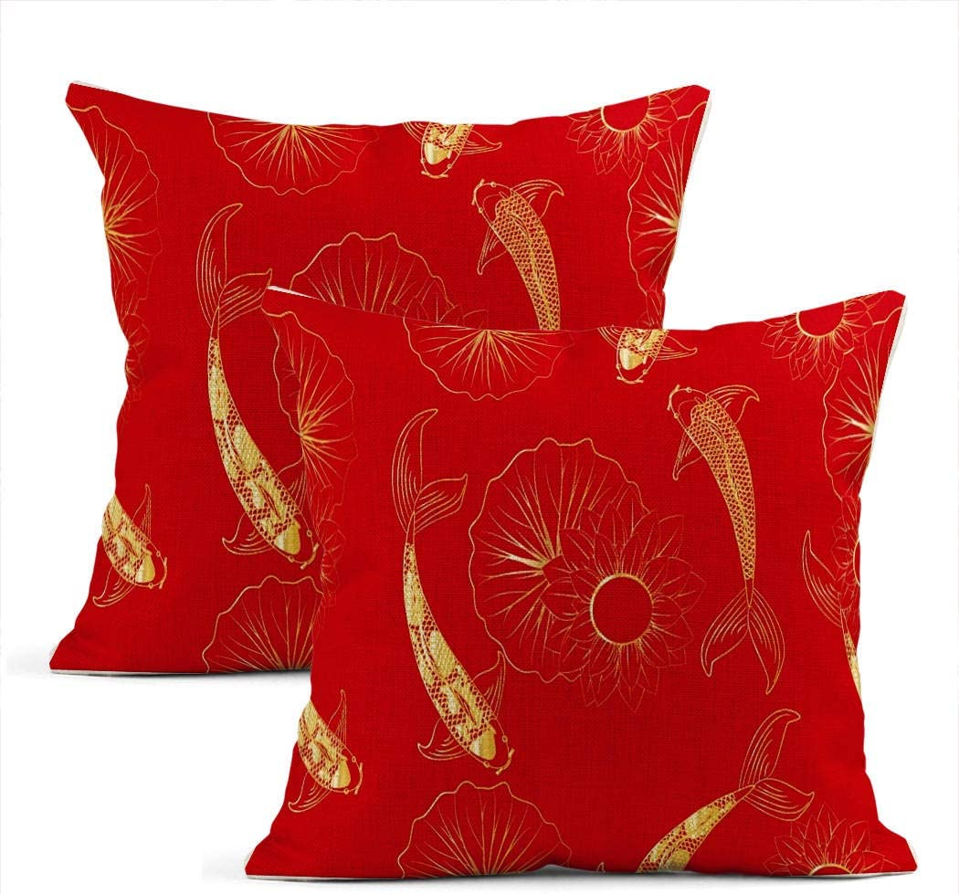 Llsty Set of 2 Throw Pillow Covers Koi Chinese Carp Fish Chinese Gold Japan Flower Oriental Pillowcases Modern Linen Home Car Sofa Office Room Decor Cushion Covers 18 x 18 Inch