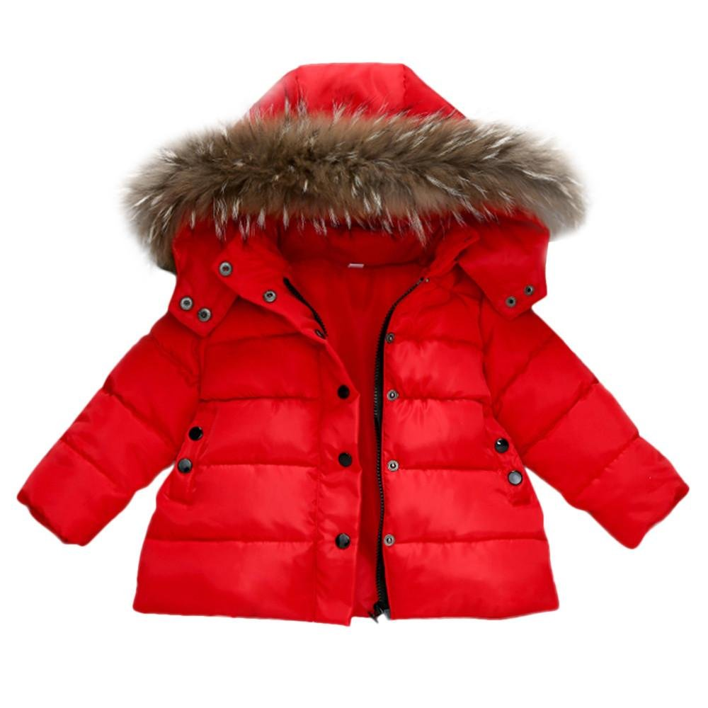 Zerototens Kids Down Jacket,0-6 Years Old Children Outerwear Autumn Winter Thick Warm Hooded Trench Coat with Removable Faux Fur Hat Outdoor Windbreaker Parka