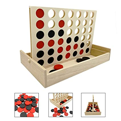 JEVERGN Wooden 4 Connect in a Row Games - Connect Four Wood Classic Family  Fun Toy with Coins - Line Up 4 Board Games for Kids