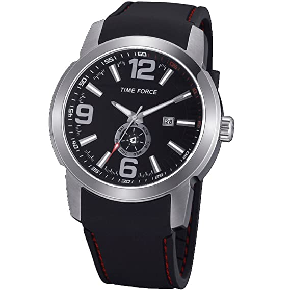 Time Force TF4075 - Reloj analógico de caballero con calendario - Acero inoxidable y caucho: Amazon.es: Relojes