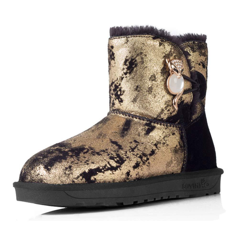 Frauen Schneeschuhe Kurze Stiefel Metall Fox Kopf Warm Plus SAMT Verdicken Slip Flache Ferse Casual Für Winter