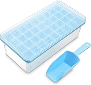 Ice Cube Tray With Lid and Bin | 36 Nugget Silicone Ice Tray For Freezer | Comes with Ice Container, Scoop and Cover | Good Size Ice Bucket