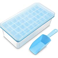 Ice Cube Tray With Lid and Bin | 32 Nugget Silicone Ice Tray For Freezer | Comes with Ice Container, Scoop and Cover…