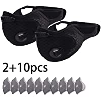 LDPF 2pcs Bike Face Cover with 10pcs Filter Anti Dust Safety Men Women Pollution Anti-Fog Running Cycling Reusable Respirator Activated Carbon