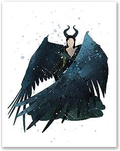 Maleficent Poster - Watercolor Inspired Bedroom Print - Nursery Wall Art Decor - Birthday Gift for Boys Girls (8x10)