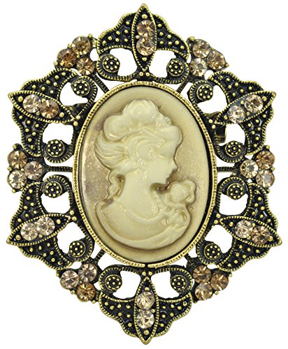 ired Cameo Victorian Lady Maiden Crystal Rhinestone Brooch Pin BZ093 (Vintage Cameo Pin)