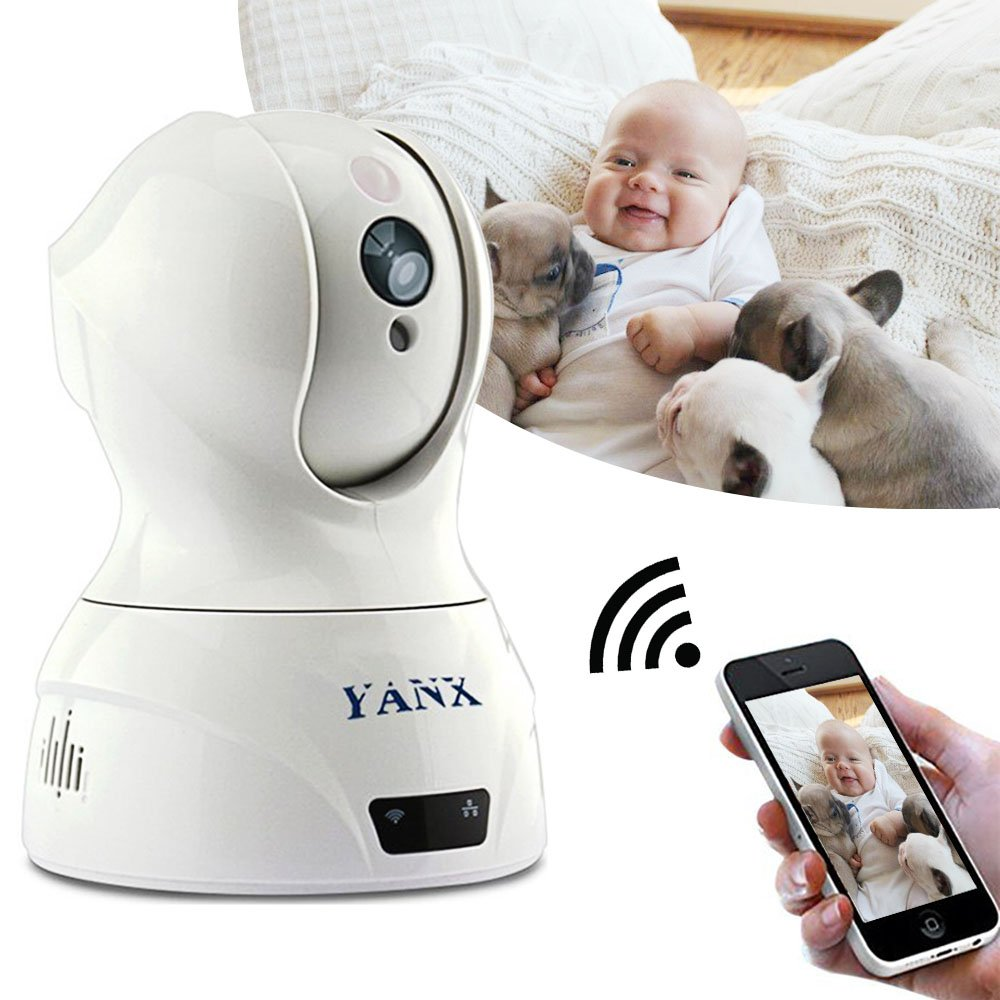 YANX Baby Monitor Dog Camera Wireless HD IP Camera Home Security Cam With Night Vision (White)